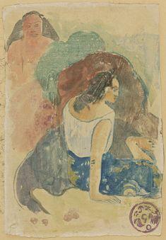 Paul Gauguin, Arearea no Varua Ino (Words of the Devil) [recto], 1894, watercolour monotypeon japan paper, 24.4 x 16.7 cm, National Gallery of Art, Washington, D.C.