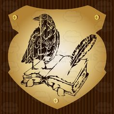 Raven On Top Of Open Book With Feather Quill Pen Coat Of Arms On Gold Plate Screwed On Wooden Brown Background #achievement #ages #armorial #arms #army #bearings #book #cities #coat #country #crest #crow #education #european #family #fight #heraldic #king #knowledge #medieval #middle #military #nations #PDF #pen #queen #raven #roaylty #state #symbol #universities #university #vector-graphics #vectors #vectortoons #vectortoons.com #writing