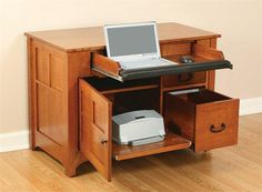 Amish Mission Laptop Credenza Desk Room for your laptop, hanging files, office supplies, printer and more is built into the stylish and simple Amish Mission Laptop Credenza Desk from DutchCrafters. This mission desk is an American made product. Office Supply Organization, Office Storage, Printer Desk, Cherry Desk, Craft Room Tables, Office Furniture Design, Furniture Ideas, Best Desk, Laptop Desk