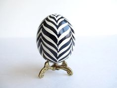 Zebra Easter Egg Black and White,  Ukrainian Easter egg, batik painted chicken egg shell