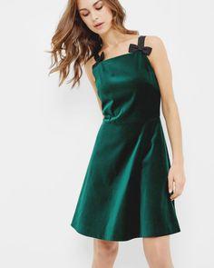 Bow strap velvet skater dress - Jade | Dresses | Ted Baker ROW