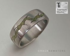 printed titanium ring with cracked detailing and crushed gemstone inlay. Titanium Rings, Wedding Bands, Rings For Men, Gemstones, 3d, Printed, Jewelry, Jewellery Making, Men Rings