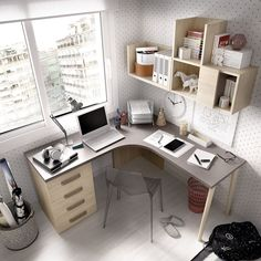 Study areas that allow you to take advantage of the corners of the room and thereby gain space.