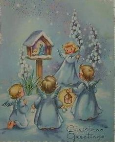 Gold Accents - Sweet Girl Angels on Blue - Vintage Christmas Card christmascardimages Christmas Card Images, Vintage Christmas Images, Christmas Card Crafts, Old Christmas, Retro Christmas, Vintage Holiday, Christmas Greeting Cards, Christmas Printables, Christmas Pictures