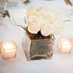 Alicia & Adam's Contemporary Champagne Wedding – Centrepiece
