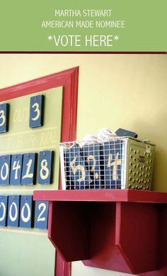 hand made shelving and Baseball scoreboard tiles: Juvenile Hall Design; creators of kids room design & decor.  Please support us with your vote! #juvenilehalldesign http://www.marthastewart.com/americanmade/nominee/80332?xsc=SOC_AM_NomFB