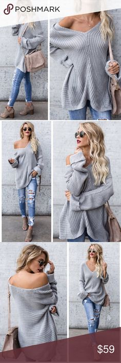 """Preorder New Boho Knitted V Neck Sweater Preorder New Boho Knitted V Neck Sweater   Long Sleeve  V Neck  Light knit  - Lightweight   Sizes: XS-S or M-L  Length Approx 32"""" ( XS-S) Model is wearing XS-S and is 5""""7   Material: 55% Ramie , 45% Cotton  Color: Grey  Limited quantities available! Arrives next week & ships to you same day ..order now Sweaters V-Necks"""