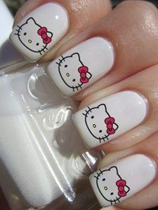 Hello Kitty & Cat Paw Prints Toe Nail Art Design , Have you even seen hello Kitty nail styles before? the lovable hello Kitty ought to be the foremost common cat within. Red Nail Designs, Simple Nail Designs, Nail Decals, Nail Stickers, Hello Kitty Nails, Nails For Kids, Cat Nails, Nail Art Videos, Japanese Nails