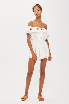 PETITE Embroidered Broderie Playsuit