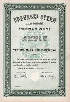 Brauerei Stern AG Aktie 1.000 Mark 2.12.1907 (Muster, R 12).