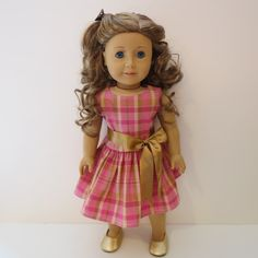 American Girl Doll Clothes - Plaid Dress with Sash