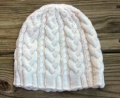 White Winter Cable Knit Beanie Hat for by TinkerCreekHandknits
