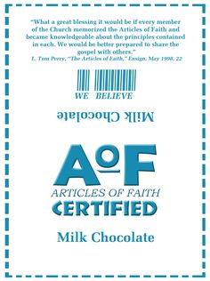 Article of Faith reward - certificate and candy bar wrapper