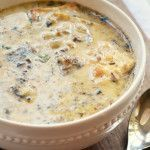 Cream+of+Mushroom+Soup+with+Buttered+Crackers