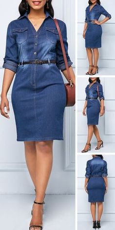 Button Up Denim Roll Tab Sleeve Shirt Dress Upgrade your wardrobe and try new styles this year. Latest African Fashion Dresses, Women's Fashion Dresses, Casual Dresses, Denim Dresses, Denim Outfits, Outfit Jeans, Shirt Outfit, Mode Outfits, Trendy Outfits