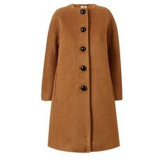 Orla Kiely: Collarless coat in wool mohair blend textured fabric. This lovely coat has an a-line silhouette with a dolman 3/4 length sleeve and pockets in the side seams. The coat is fully lined in Orla Kiely Stem jacquard lining.    Length: 37.6in (from high shoulder point)