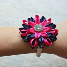Wedding Corsage Bridesmaid Corsage Hot Pink Flower Bracelet Navy Flower Bracelet Hot Pink and Navy Blue Jewelry Hot Pink Accessories