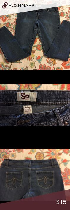 Jeans,  junior size 15 Average Jeans by SO (Kohls brand) Like new condition, stretch for comfortable fit. No frays, stains or flaws anywhere. SO Pants Straight Leg