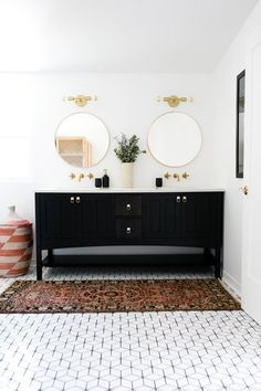 Monica Wang black and white modern bathroom. Love the geometric tiles Beautiful Bathrooms, Modern Bathroom, White Bathroom, Bathroom Mirrors, Beautiful Kitchen, Fireclay Tile, Bathroom Flooring, Tile Flooring, Kitchen Flooring