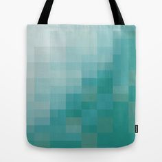 SAM SQWATCH | squares, pixels, turquoise Tote Bag by CHIN CHIN - $22.00