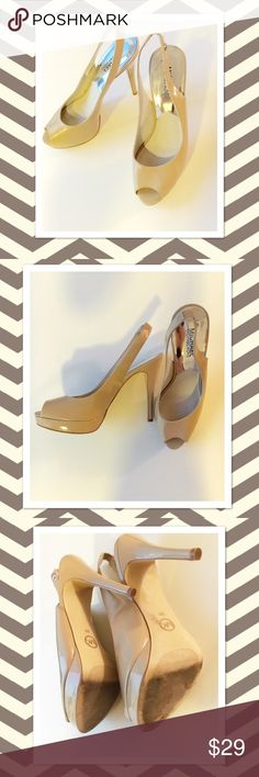 "Michael Kors Patent Nude Sling Back Heels Michael Kors Patent Nude Sling Back Heels in size 8M. Platform is approximately 0.75"" and heel is about 4.5"". Worn a couple times only and in pretty good condition. MICHAEL Michael Kors Shoes Heels"