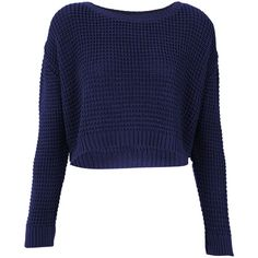 TOPSHOP Knitted Textured Crop Jumper (345 ARS) ❤ liked on Polyvore featuring tops, sweaters, shirts, jumpers, indigo, cotton shirts, crop tops, blue cotton shirt, topshop shirts and textured sweater