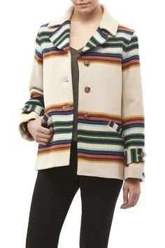 Classic wool fully lined jacket with a colorful stripe pattern, button down front closure and slanted pockets.    Wool Striped Jacket by Pendleton Woolen Mills . Clothing - Jackets, Coats & Blazers - Coats - Peacoats Michigan