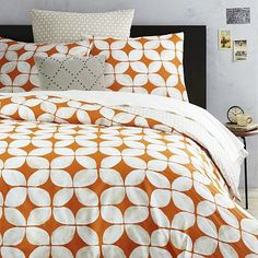 Orange geometric print bedding from West Elm. Leaf Motif Duvet Cover + Shams - Mandarin