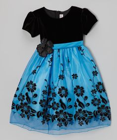 Blue & Black Floral Velour Babydoll Dress