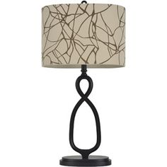 Twisted Bronze Table Lamp with Oval Shade