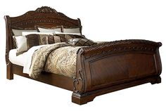 Shop Ashley Furniture North Shore Dark Brown King Sleigh Bed with great price, The Classy Home Furniture has the best selection of Beds to choose from Furniture Near Me, Bedroom Furniture, Home Furniture, Wooden Furniture, Antique Furniture, Dream Furniture, Wood Bedroom, French Furniture, Furniture Storage