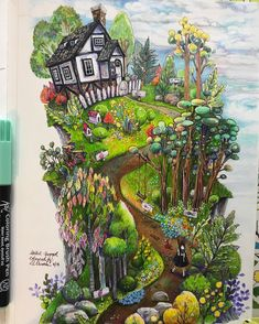 Loving her illustrations 😍 this time I used koibrushpen first then shade with prisma cp to get the intensity. Enchanted Forest Book, Enchanted Forest Coloring Book, Painting Of Girl, Painting & Drawing, Forest Girl, Parcs, Book Girl, Cute Art, Amazing Art
