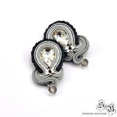 Silver Clip-on Earrings, Silver Soutache Earrings, Elegant Clip On Earrings, Soutache Earrings, Orecchini Soutache, Ohrringe soutache by SBjewelrySoutache on Etsy