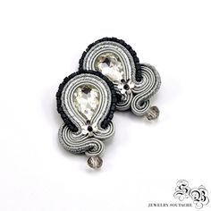 Silver Clip-on Earrings, Silver Soutache Earrings, Elegant Clip On Earrings, Soutache Earrings, Orecchini Soutache, Ohrringe soutache by SBjewelrySoutache on Etsy