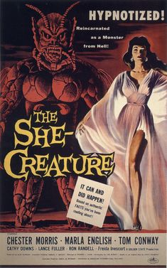 """The She-Creature"" Movie Poster by Albert Kallis (Edward L. Old Movie Posters, Classic Movie Posters, Classic Horror Movies, Movie Poster Art, Poster S, Vintage Posters, Print Poster, Retro Horror, Sci Fi Horror"