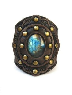 Tooled Leather Cuff with Labradorite Stone by Karen Kell Collection