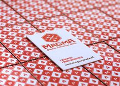 A picnic table pattern & bold red are just 2 details we love about these @MagmaPress #letterpress business cards on our Lettra...