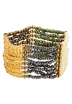 Trades of Hope - This easy-to-wear, stretch-fit, 1.5-inch-tall bracelet looks like a million bucks with its gold bars, iridescent black, amber, green stone, faux pearl, and coppery beads.