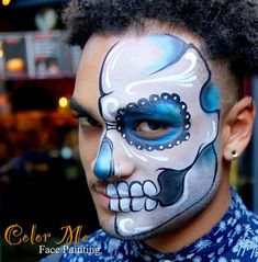 Men's Sugar Skull Makeup - Color Me Face Painting - Vanessa Mendoza Sugar Skull Face Paint, Sugar Skulls, Deco Haloween, Sugar Skull Makeup Tutorial, Helloween Make Up, Adult Face Painting, Halloween Makeup Looks, Scary Halloween, Halloween Costumes