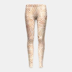 """""""Brown and white zentangles"""" Girl's Leggings by Savousepate on Live Heroes #leggings #leggins #pants #kidsclothing #kidsapparel #pattern #graphic #modern #abstract #doodles #zentangles #scrolls #spirals #arabesques #icedcoffee #brown #neutralcolors #pastelcolors #softcolors #pantonecolors2016 #trendscolors2016"""