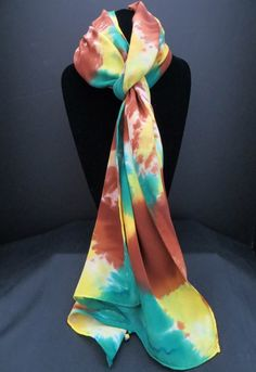 *Silk scarf - brown, teal & golden yellow