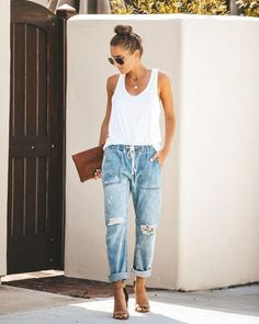 Gather \'Round Distressed Pocketed Denim Joggers - Final Sale by Vici Mode Outfits, Jean Outfits, Casual Outfits, Fashion Outfits, Casual Jeans, Club Outfits, Ladies Outfits, Dinner Outfits, Night Outfits