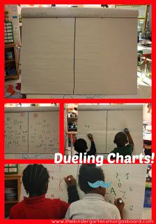 A Kindergarten Smorgasboard of Dueling Charts! Can be used for writing number, letters or CVC words. Teaching Activities, Classroom Activities, Teaching Math, Classroom Organization, Classroom Management, Teaching Ideas, Classroom Ideas, Kindergarten Smorgasboard, Kindergarten Math