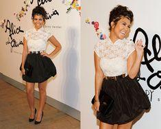 Kourtney Kardashian in Alice + Olivia Scarlet Lace Top Dress