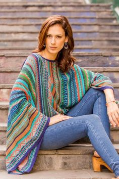 Striped kimono sleeve sweater, 'Lima Dance' - Bohemian Knit Sweater from Peru in Turquoise Stripes Boho Fashion, Fashion Outfits, Fashion Pants, Fashion Clothes, Style Fashion, Fashion Design, Bohemian Style Clothing, Crochet Poncho, Capes