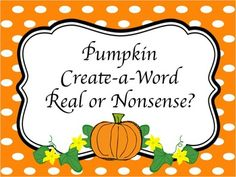 Here's a fun way for your students to practice sounding out CVC words AND deciding if they are real or nonsense words.Simply cut apart the pumpkin pieces, mix them up, and have students put them back together.  Then they sound out the word and decide if it is real or not!  **The letters are underlined so that students know which way the letters go and won't mix up letters like u/n, d/p, etc.
