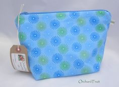 Zipped make-up/wash  bag - Blue and green stars by OrchardFruit on Etsy