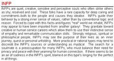 """""""[INFPs] must balance their need for privacy and peace with their yearning for human connection. If there seems to be an air of sadness in the INFP's spirit, blame it on this type's longing for the perfect [the ideal] in all things."""""""