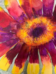 """Bright yellow and red """"daisies"""" - delightful watercolur mixed media painting - original - one only Watercolor Sunset, Watercolor Background, Watercolor And Ink, Yellow Eyes, Bright Yellow, Paintings For Sale, Original Paintings, Mount Laurel, Bright Flowers"""