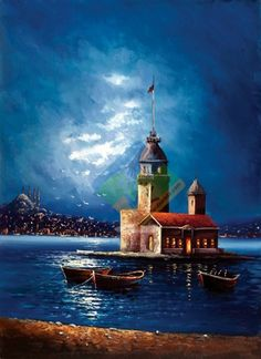 🌻 For more great pins go to Pour Painting, Painting & Drawing, Nature Pictures, Beautiful Pictures, Oil Painting Pictures, Lighthouse Art, Z Arts, Turkish Art, Seascape Paintings
